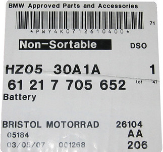 BMW R1200GS OEM Battery - info/part number May 2007