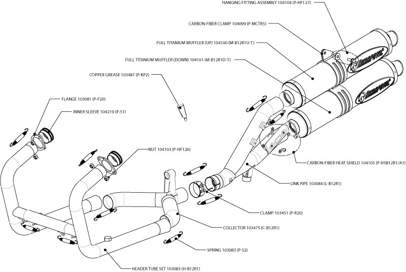 Full Akrapovic R1200GS twin can exhaust system schematic