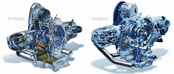 BMR R1200GS engine vs BMW R1150GS engine - engine cutaways compared www.press.bmwgroup.com/