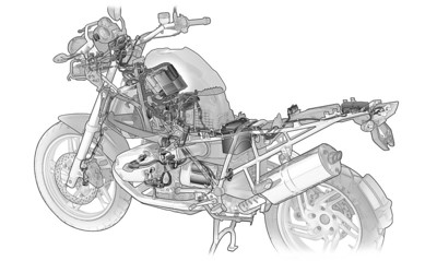 BMW R1200GS wiring harness (right view)