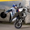 Stunt riding on a BMW F800S by rider Chris Pfeiffer