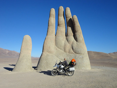 R1200GS Chile, South America - Desert Hand on the Panamerican Highway near Antofagasta (Mano del Desierto) South America 2-up - Follow Andrew and Cathy's trip here: http://southamerica2up.wordpress.com/