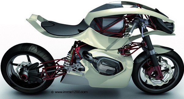 The IMME 1200 concept motorbike was the creation of two French design students of the ISD (International School of Design). The IMME 1200 is based around the BMW R1200 engine. The name IMME comes from a now extinct German motorcycle maker. The IMME 1200 concept motorbike gained the interest of BMW who helped in the creation of a prototype for the 2006 Intermot Motorcycle Show in Cologne to go on show at the BMW stand.