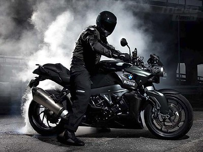 BMW K1300R burning rubber