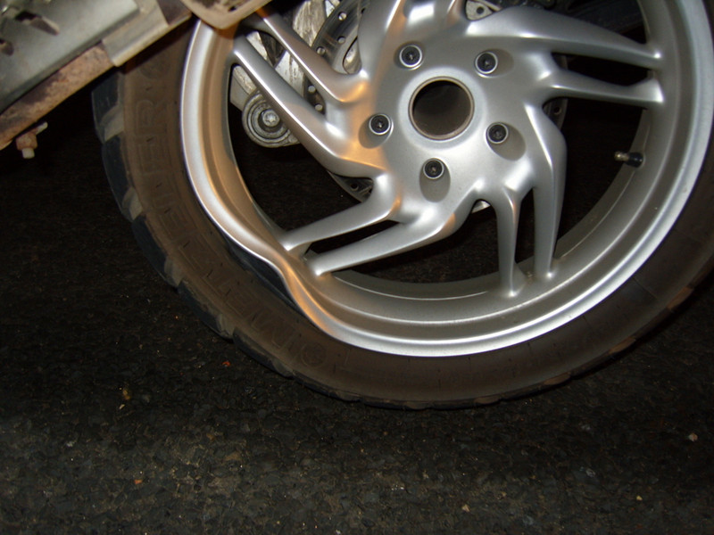 ...and the bent R1200GS rear wheel