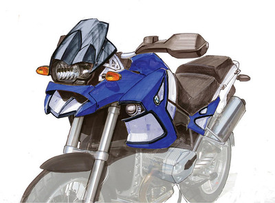 Design drawing for the Wunderlich Jararaca BMW R1200GS - the design specialist that was involved in the Wunderlich Jararaca project: http://www.b-art.nl