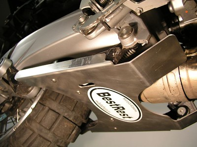 R12GS SkidPlate retracted.  Note the two large tabs at front that wrap the exhaust and prevent debris from damaging the underside.