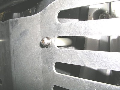 Closeup of upper nylon standoff spacers