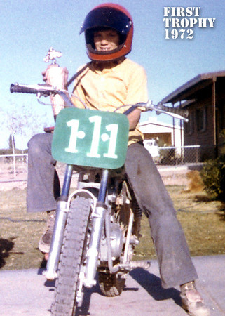 My first trophy 1972. Second place 100cc novice at Sidewinder Speedway.