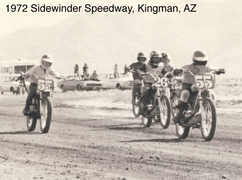 This is the second race of my life. My brother Randy is #55 in the lead. I am on #26. We are both on Honda SL100s.