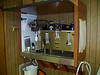Our new Bunn coffee maker in the cabinet that Phil built.