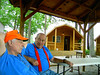 Larry and Smitty solve the world's problems at the Manchester, TN KOA.  That's our Kamping Kabin in the background.  Thursday, May 4.
