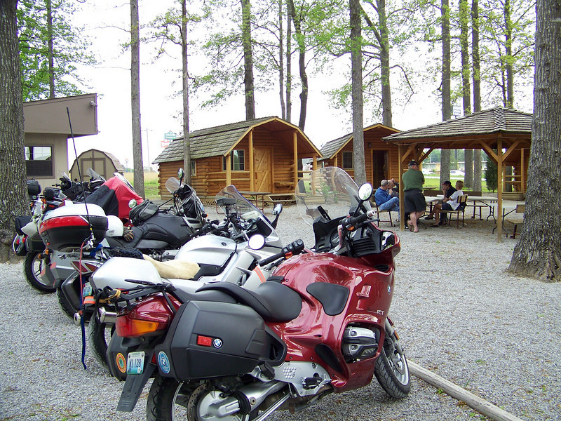 The bikes and group at the Manchester, TN KOA on Thursday night.  The 7 of us occupied the 2 cabins in the picture.