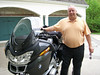 Al is ready to ride to ride to breakfast at the Bob Evans in Fairview Heights.  He's dry and his bike is clean.  Photo by Jill Schroer.