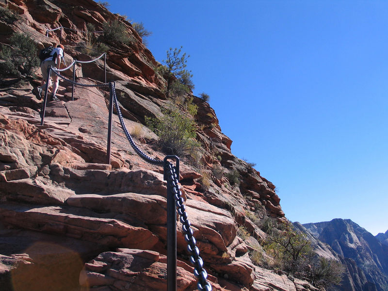Jackhole heading up the last 1/2 mile of Angel's Landing in Zion.