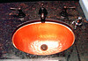 Chula Vista is an upscale resort.  This is a copper sink surrounded by granite in the ladies public bathroom.  Yes, I took a photo in the bathroom.