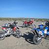Day 1, the bikes start to arrive. Jonah's blue Dakar 690, very cool bike!