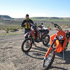Jonah helps install some road books and GPS units to the two KTM bikes of Jim Thomson and Jason Dahners, some very fast riders from Washington. Jason is the Pacific Northwet KTM factory rep.