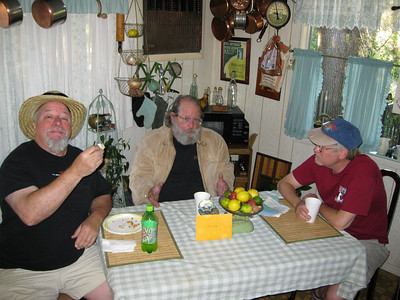 Breakfast Burrito's at Kelly's kitchen. George, Merlin and Kimbal
