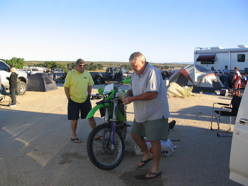 "Don Chalmers, Event organizer, celebrates a ""DECADE OF SPEED"" with his trusty KX500."