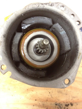 R100GS valeo starter motor with unglued magnets.  This is what broke during the 2012 PNW adventure rally.