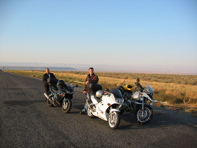 Somewhere near the Hanford site in WA state. Brian (L) and Glenn prepare to run and hide from the GS on the long straights.