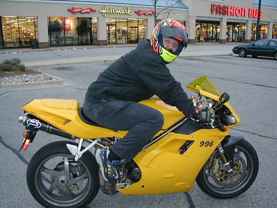 My on my Yellow 2000 Ducati 996 - Before the accident.