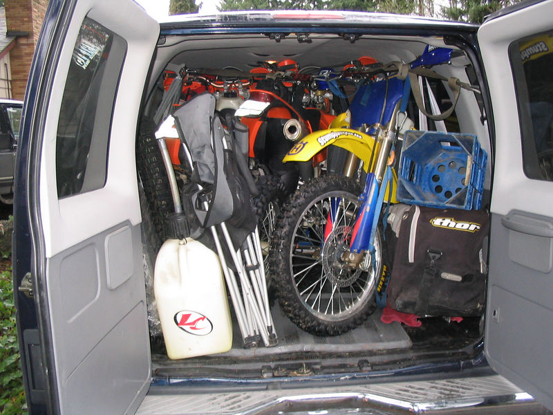 Drew's van loaded up with 3 bikes and all of our gear. We had plenty of room up front even with Jake Dog up there.