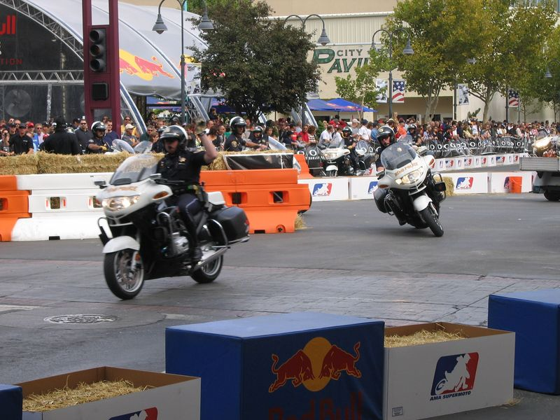 Reno moto police warming up the track.