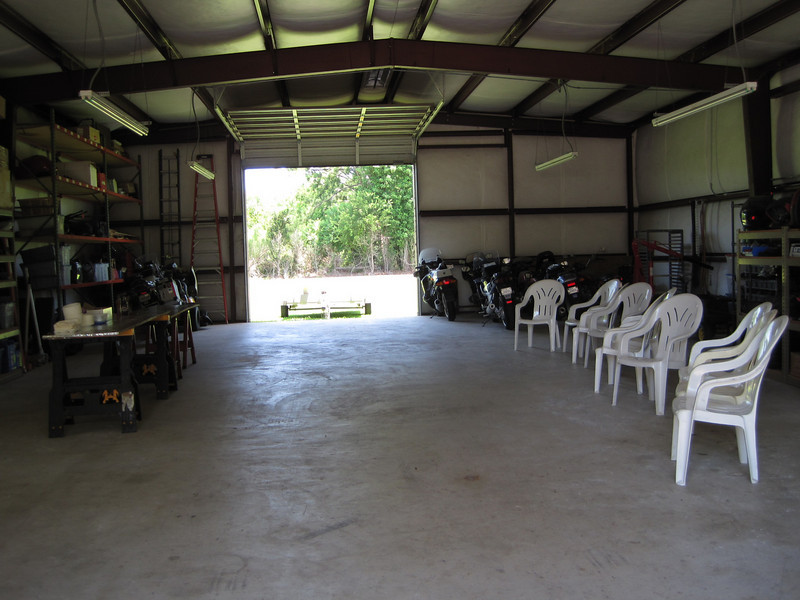 Mike and I cleared the shop floor, vacuumed and blew it clean, and got the tables and chairs set up.