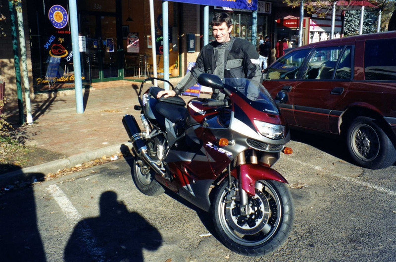 Marty with his new to him Kawasaki ZX9R. Gisborne Vic.