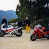 returning from the Snowy Mtns, Jules - CBR600 & Rob - VFR750, Sullivan's Lookout near Bright, Feb, 2002.