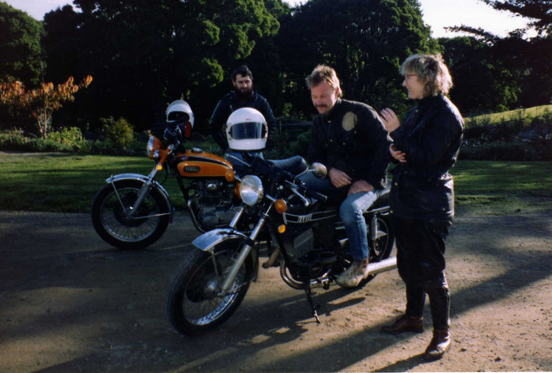 Andy - Yamaha XS1, Steve Yamaha RD350 & DP at Lavers Hill 1989. Steve and Dorothy in Belstaff jackets.