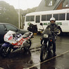 A wet day at Lavers Hill (Vic). My CBR and Andy on Heidi's BMW Funduro - the bike she traveled the world on!