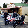 Rob Harper VFR750 (obscured) & me. Nimmitabel NSW in transit to the Snowy Mountains.