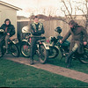 "Post ""dog rattlin"" Jules & Rod on dirt bikes, Steve on his Norton ES2"