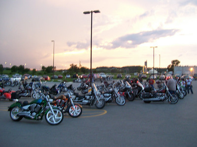 This is the parking lot of Quaker State in Council Bluffs IA (Wed before CO trip) Bike Night!  (Nasty cloud in left background)