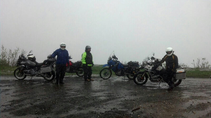 Rick's RDV ride in the rain to Unaka Mt. Pictured L to R: me, Cyrus, Scott.  Photo by Pete.