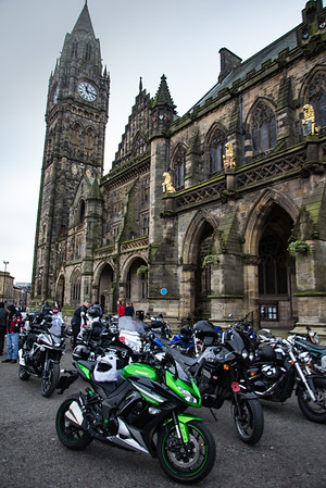 Motorcycles outside Rochdale town hall.