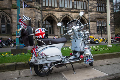Traditional scooters at rochdale town hall.