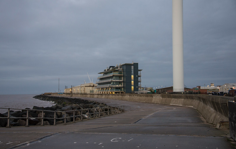 The start  point in Lowestoft, the Sun is starting to come up.