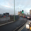The road bridge opening up to let a fishing boat through in Lowestoft.