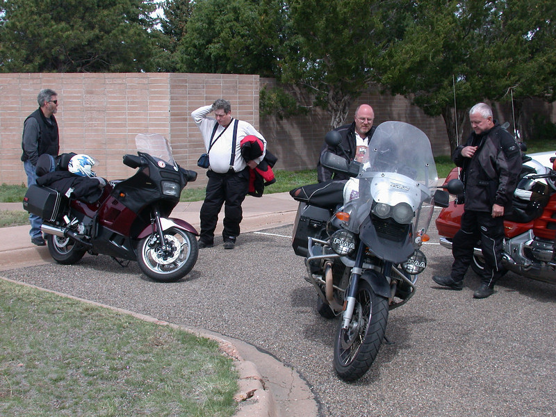 We all met Capulin National Monument for a ride up to see the crater.<br /> BJ(?), Don W, Jeff, Diggidy