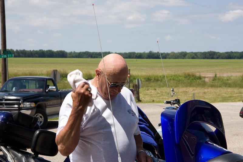 Jerry polishing his chrome dome