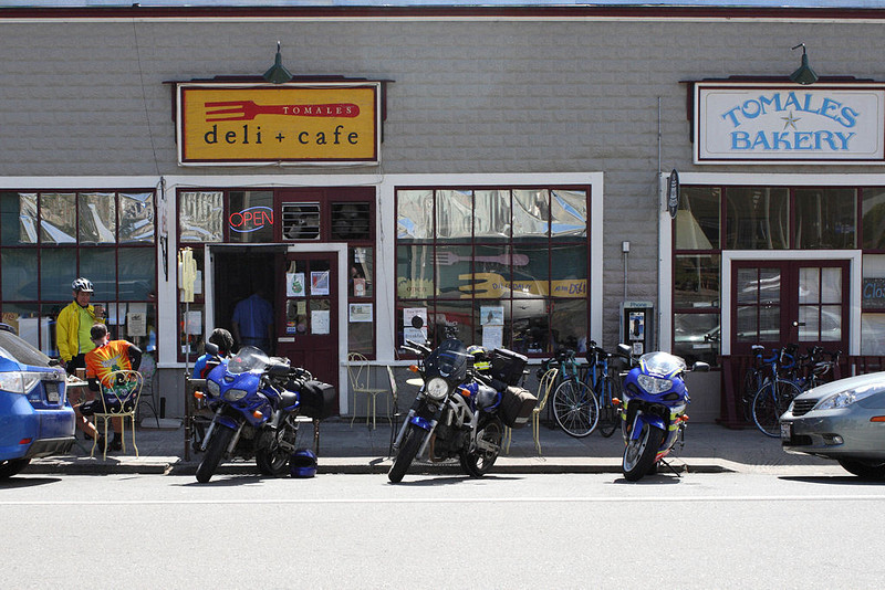 Beth, Helena and I had a nice three day ride up the California coast.<br /> Here's the usual first stop, the Deli and Bakery in Tomales - they're inside getting sandwiches for lunch down the road.