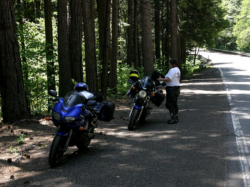 Recommendation: view this as a slide show and turn captions on.<br /> <br /> Beth and I went riding for four days at the end of May in the mountains and coast of Northern California.<br /> We left the valley in Chico and headed up highway 32 to Mount Lassen.