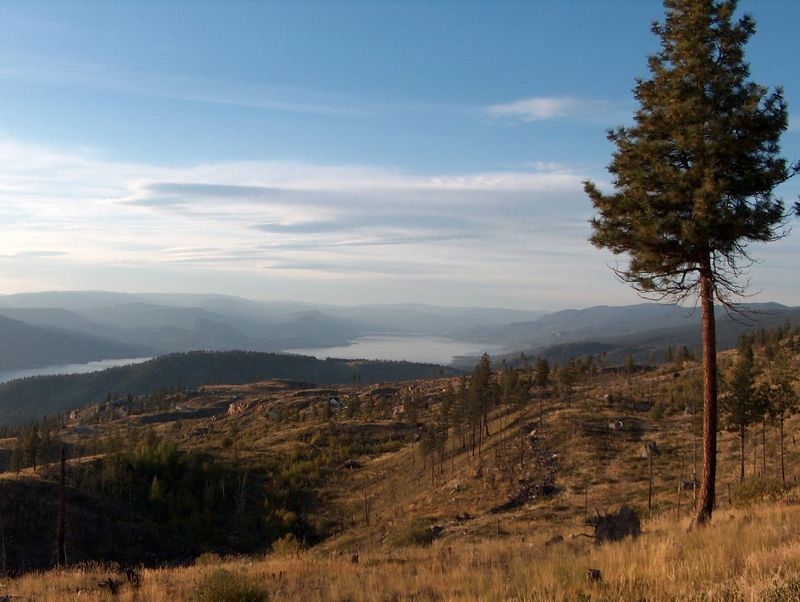 View of Penticton, BC from the Lost Moose restaurant.