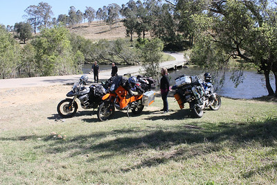 Our motorcycles. BMW 1200GS, BMW 800GS and my KTM 950