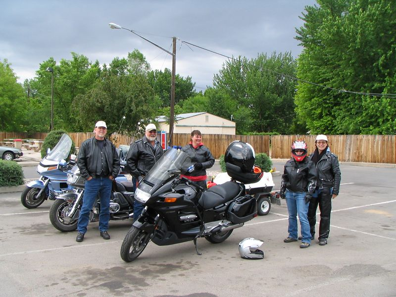 Meeting the gang in Canon City. Left to right- my Dad (Phil), his friend Bill and his wife Bev, my wife Tami, (with the helmet on), and my Mom, Pat.  Phil and Pat on the blue Goldwing, Bill and Bev on the 'Wing trike, and the ST is mine.