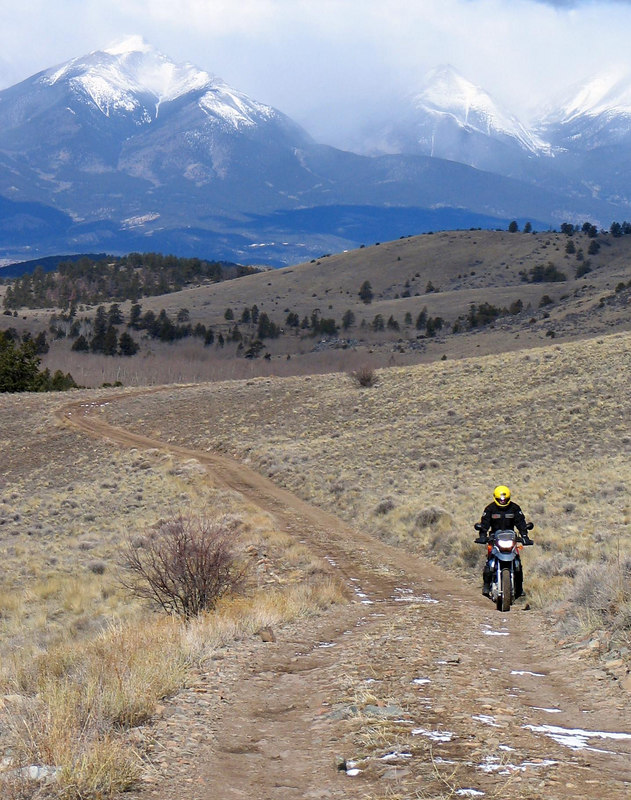 Mark riding out of the valley on his BMW.